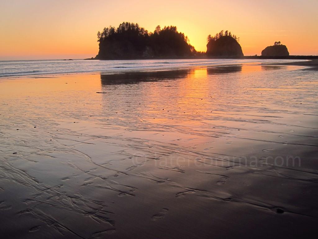 sunset behind James Island